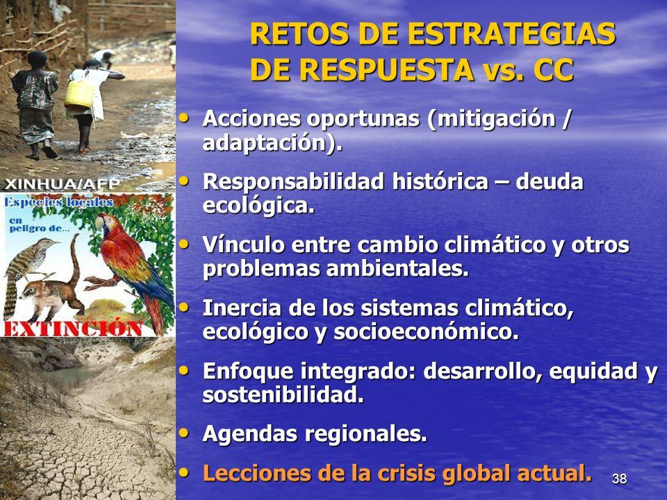 RETOS DE ESTRATEGIAS DE RESPUESTA vs. CC