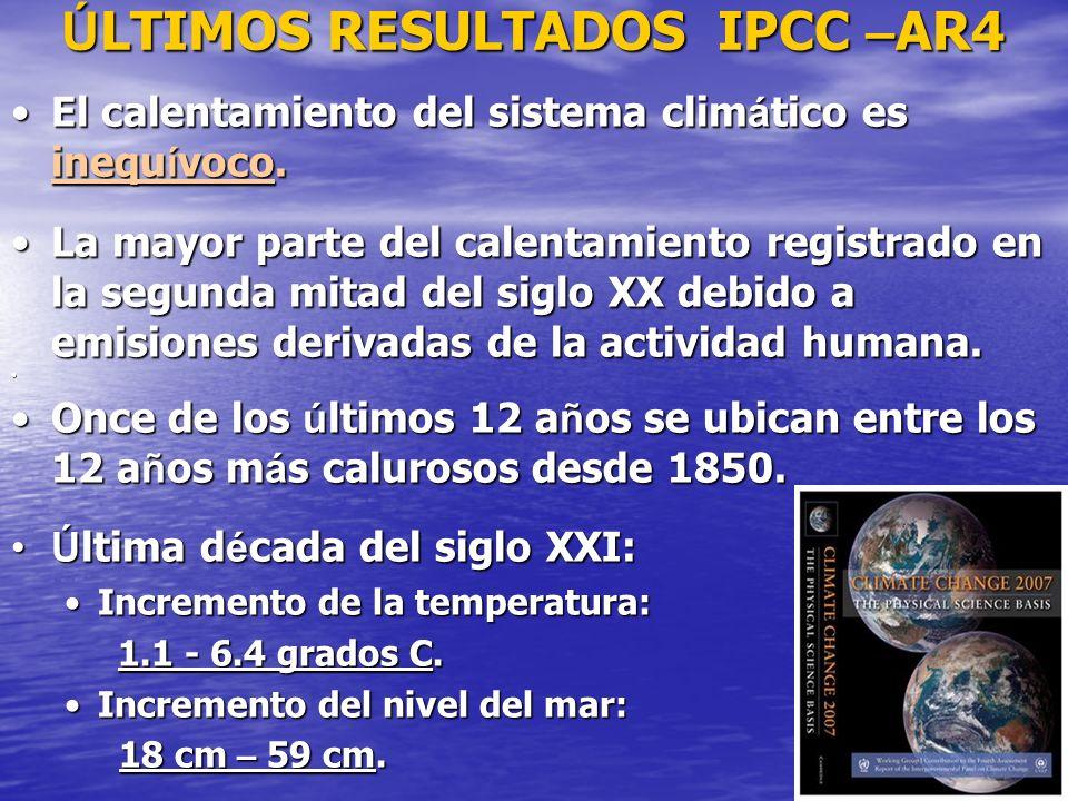 ÚLTIMOS RESULTADOS IPCC –AR4