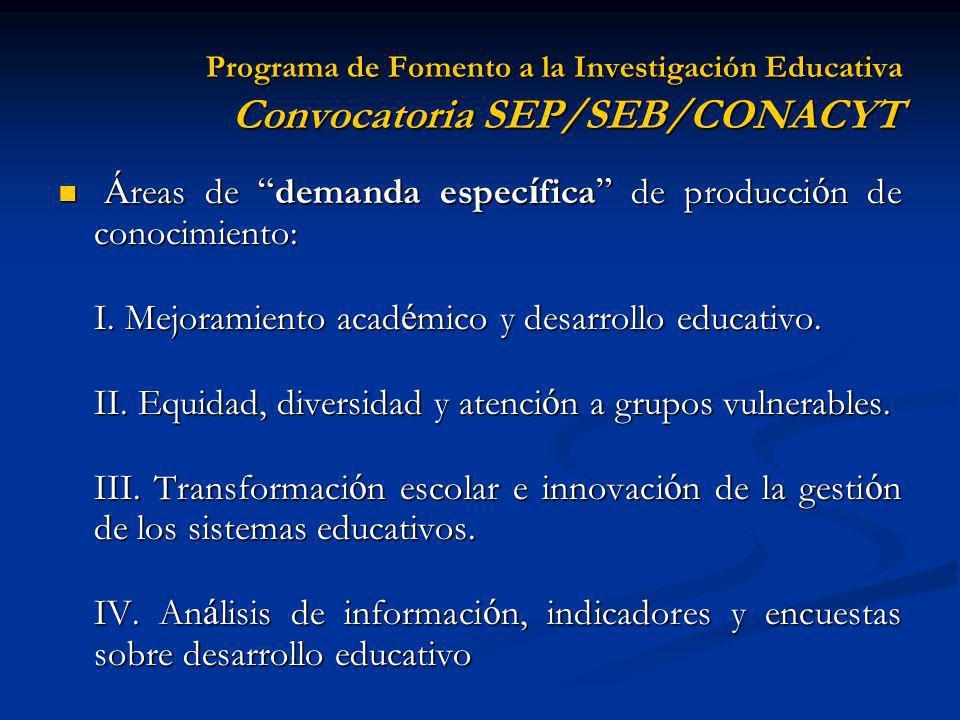 Áreas de demanda específica de producción de conocimiento: