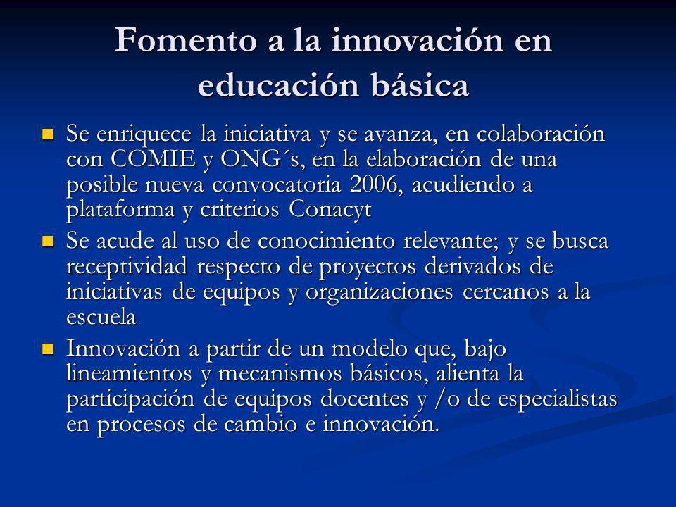 Fomento a la innovación en educación básica