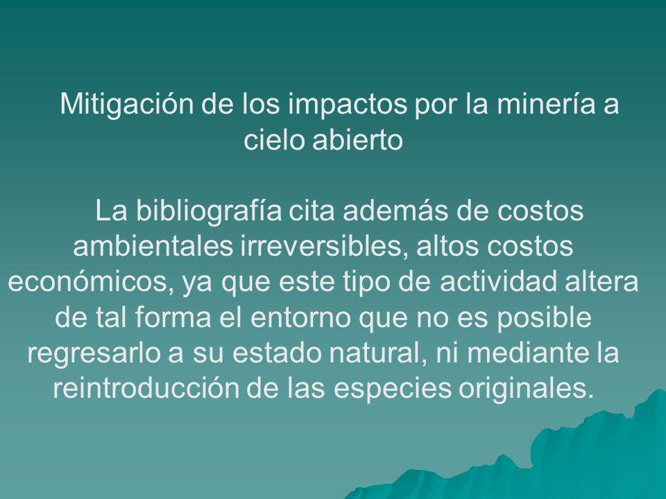 Mitigación de los impactos por la minería a cielo abierto