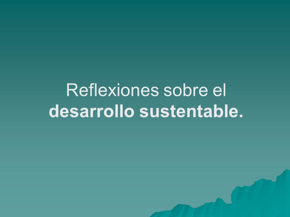 Reflexiones sobre el desarrollo sustentable.
