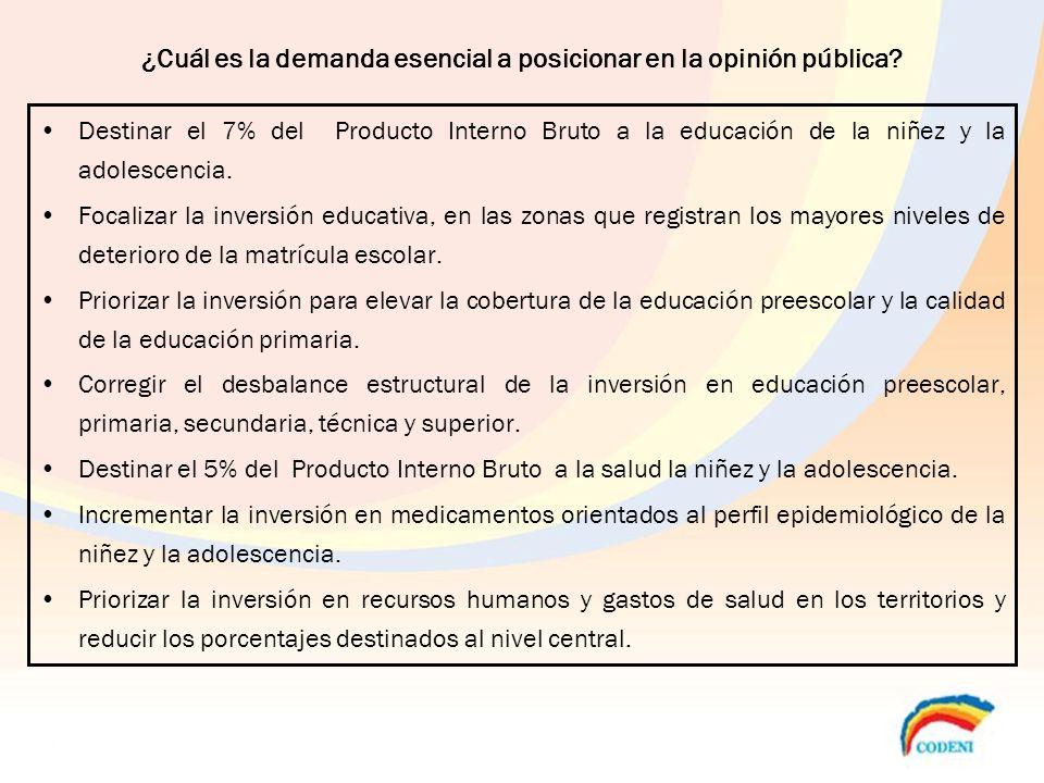 ¿Cuál es la demanda esencial a posicionar en la opinión pública
