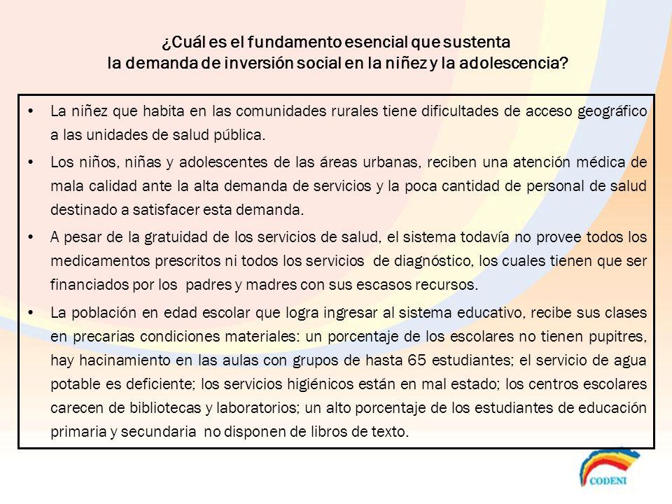 ¿Cuál es el fundamento esencial que sustenta la demanda de inversión social en la niñez y la adolescencia