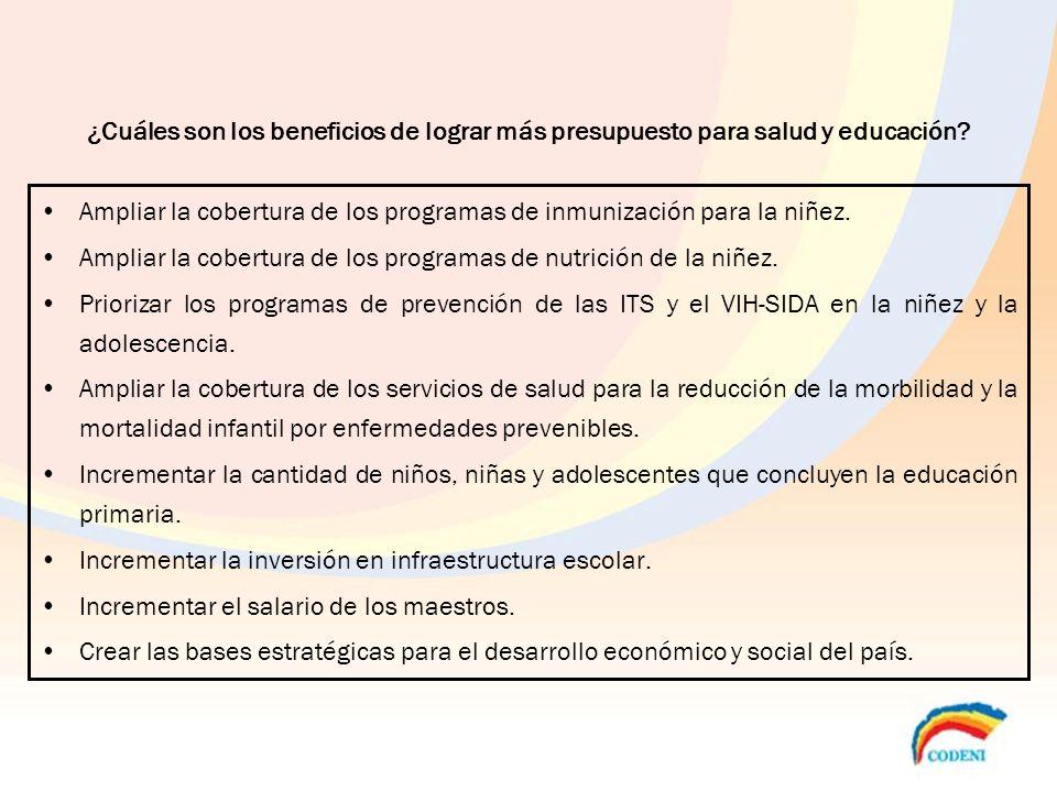 ¿Cuáles son los beneficios de lograr más presupuesto para salud y educación