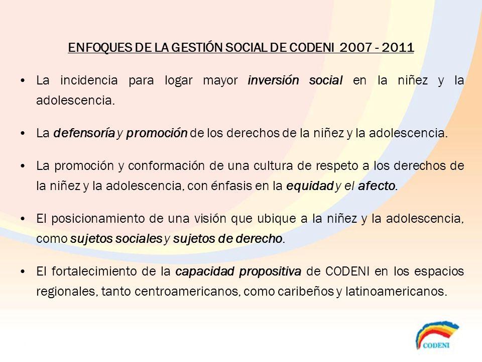 ENFOQUES DE LA GESTIÓN SOCIAL DE CODENI 2007 - 2011