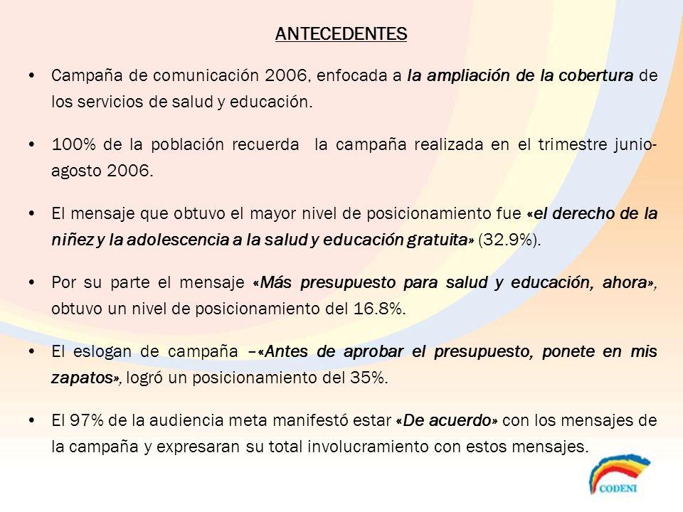 ANTECEDENTES Campaña de comunicación 2006, enfocada a la ampliación de la cobertura de los servicios de salud y educación.