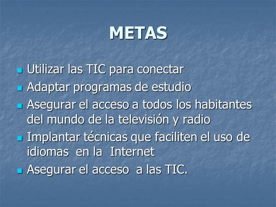 METAS Utilizar las TIC para conectar Adaptar programas de estudio