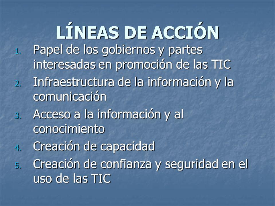 LÍNEAS DE ACCIÓN Papel de los gobiernos y partes interesadas en promoción de las TIC. Infraestructura de la información y la comunicación.