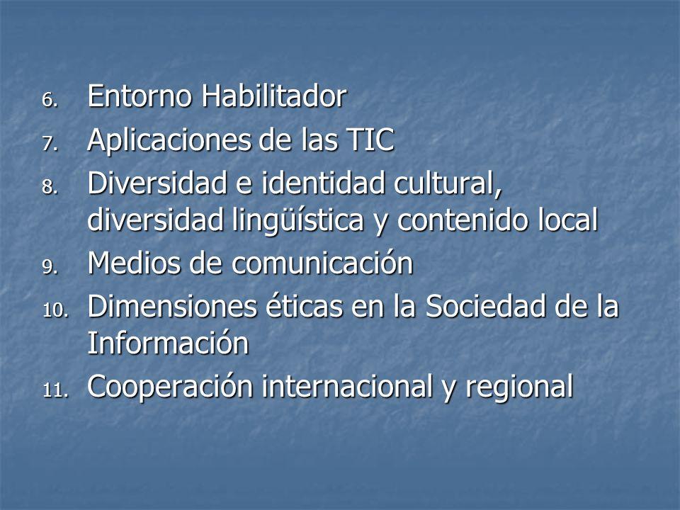 Entorno Habilitador Aplicaciones de las TIC. Diversidad e identidad cultural, diversidad lingüística y contenido local.