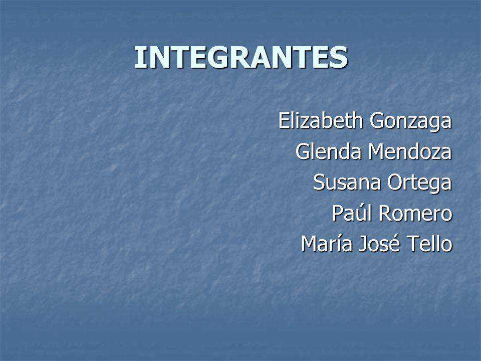INTEGRANTES Elizabeth Gonzaga Glenda Mendoza Susana Ortega Paúl Romero