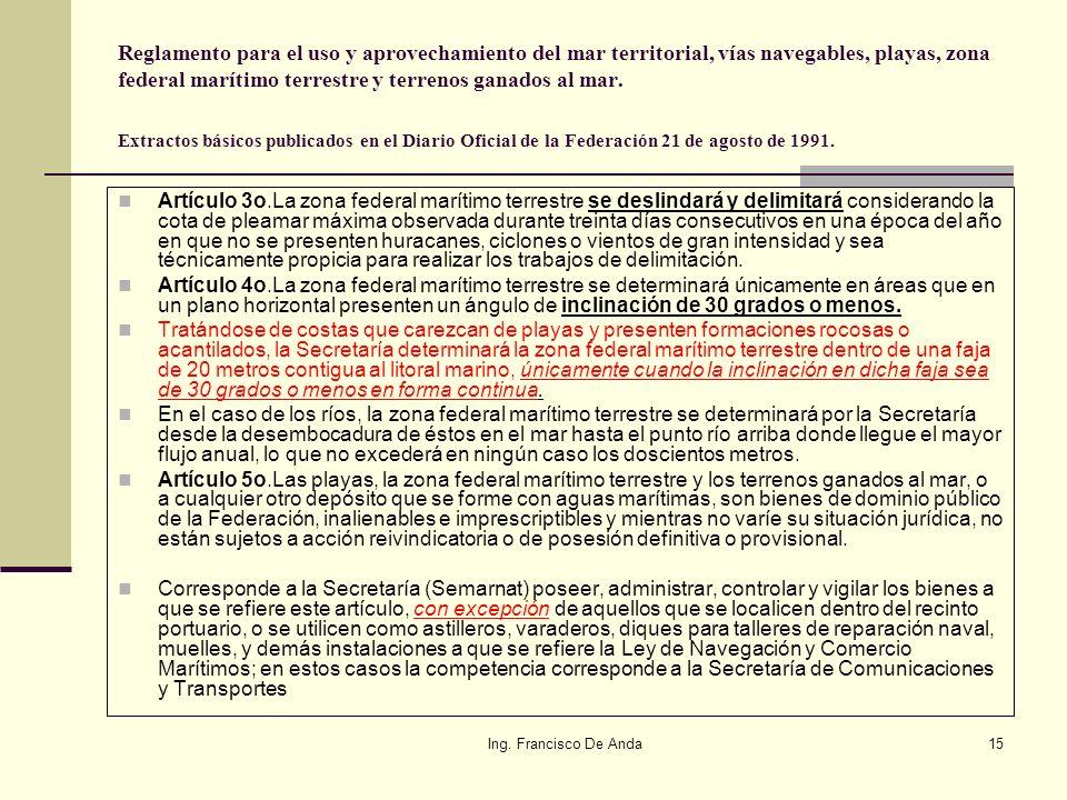 Reglamento para el uso y aprovechamiento del mar territorial, vías navegables, playas, zona federal marítimo terrestre y terrenos ganados al mar. Extractos básicos publicados en el Diario Oficial de la Federación 21 de agosto de 1991.
