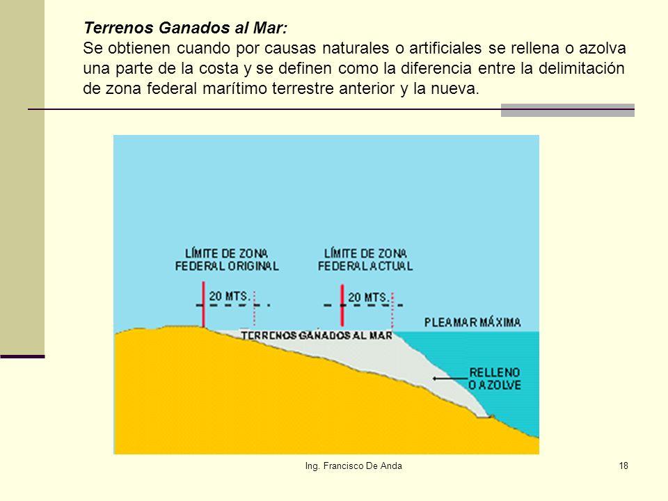 Terrenos Ganados al Mar: Se obtienen cuando por causas naturales o artificiales se rellena o azolva una parte de la costa y se definen como la diferencia entre la delimitación de zona federal marítimo terrestre anterior y la nueva.