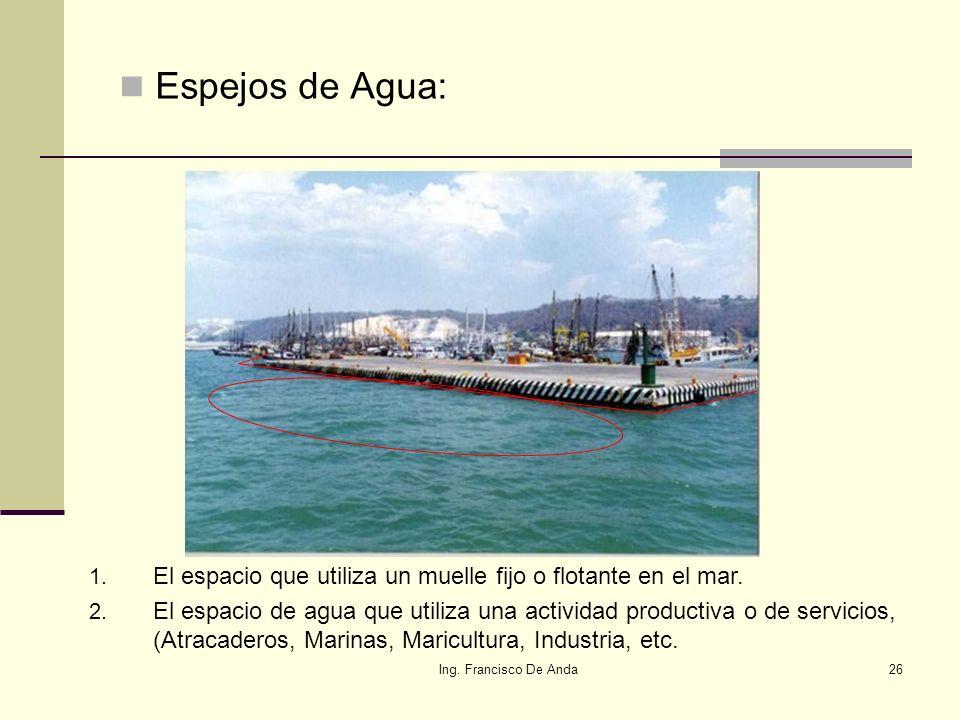 Espejos de Agua: El espacio que utiliza un muelle fijo o flotante en el mar.