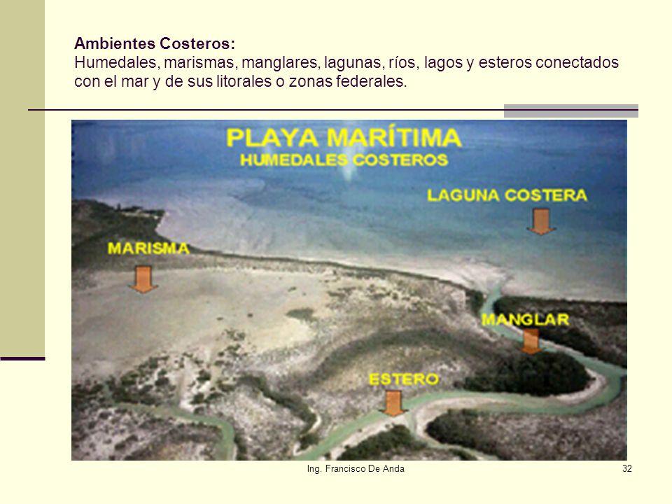 Ambientes Costeros: Humedales, marismas, manglares, lagunas, ríos, lagos y esteros conectados con el mar y de sus litorales o zonas federales.