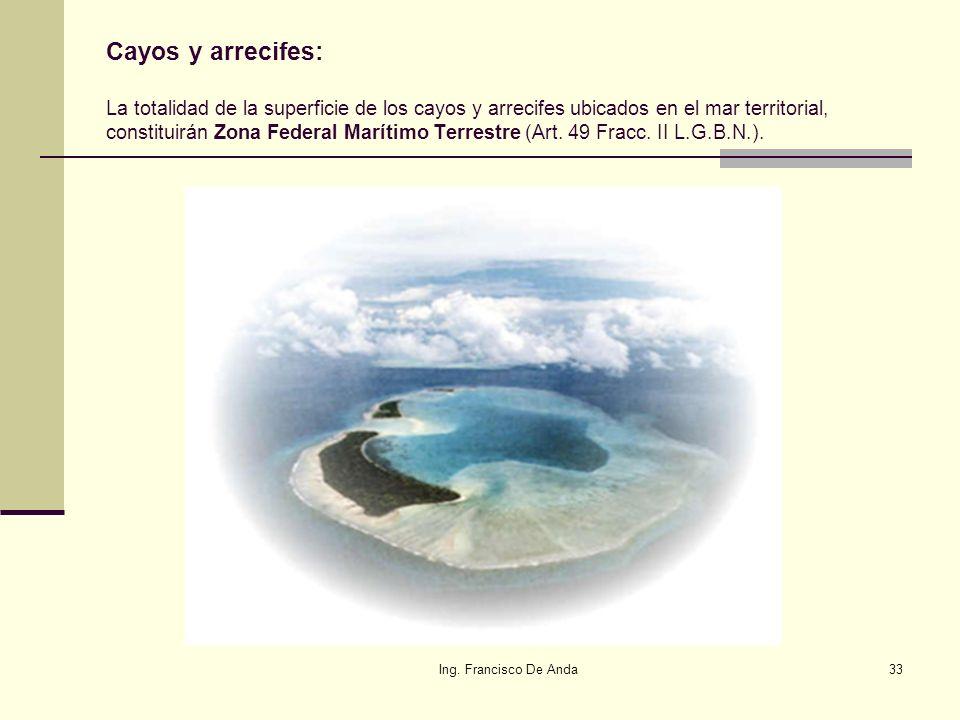 Cayos y arrecifes: La totalidad de la superficie de los cayos y arrecifes ubicados en el mar territorial, constituirán Zona Federal Marítimo Terrestre (Art. 49 Fracc. II L.G.B.N.).