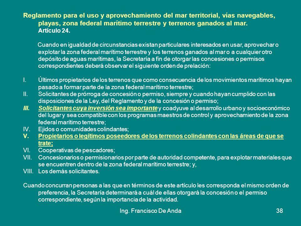 Reglamento para el uso y aprovechamiento del mar territorial, vías navegables, playas, zona federal marítimo terrestre y terrenos ganados al mar. Artículo 24.