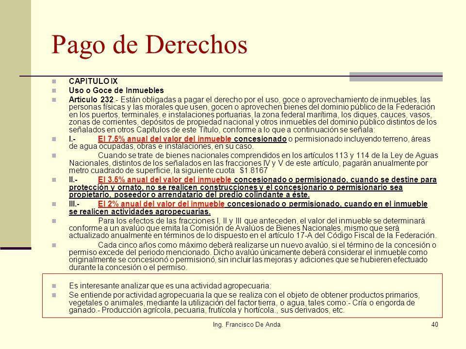 Pago de Derechos CAPITULO IX Uso o Goce de Inmuebles