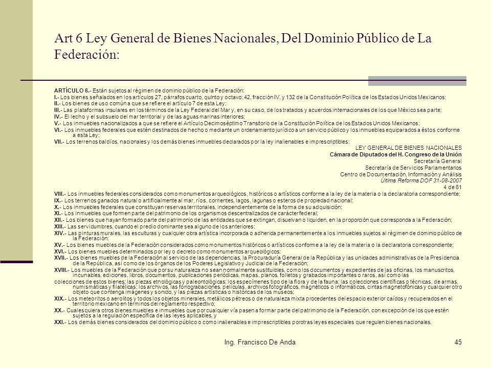 Art 6 Ley General de Bienes Nacionales, Del Dominio Público de La Federación:
