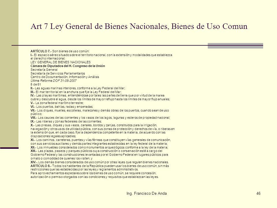 Art 7 Ley General de Bienes Nacionales, Bienes de Uso Comun