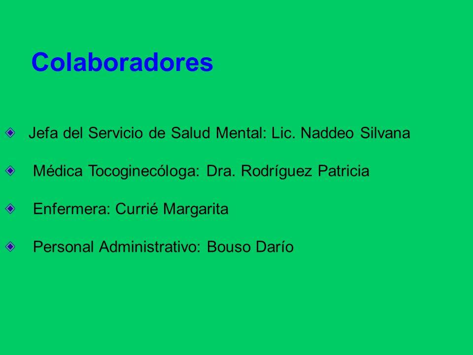Colaboradores Jefa del Servicio de Salud Mental: Lic. Naddeo Silvana