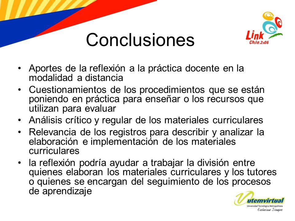 Conclusiones Aportes de la reflexión a la práctica docente en la modalidad a distancia.