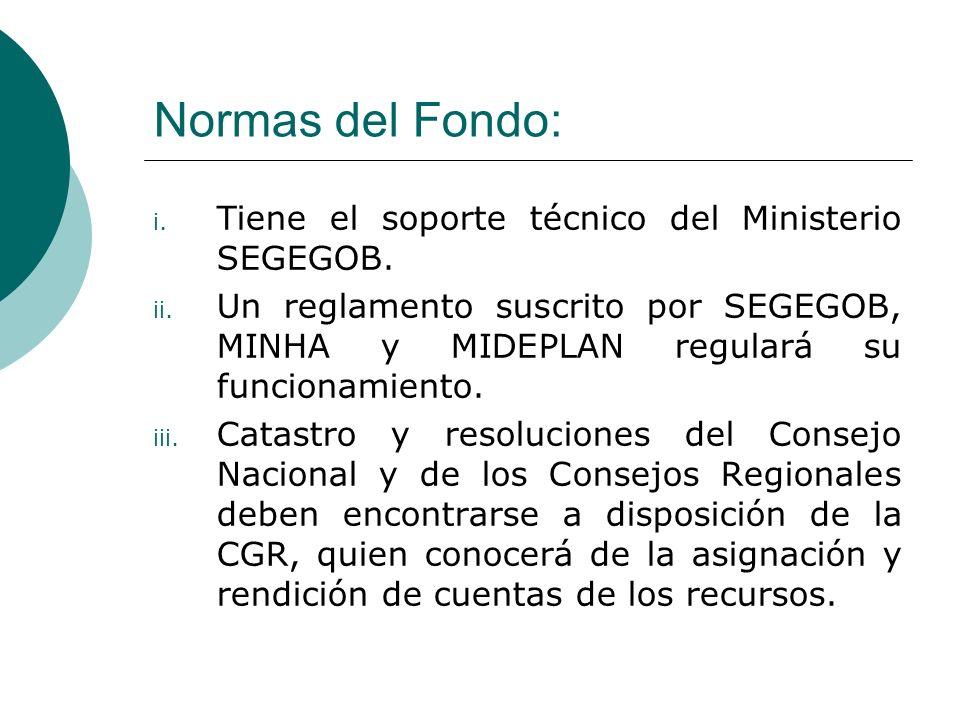 Normas del Fondo: Tiene el soporte técnico del Ministerio SEGEGOB.