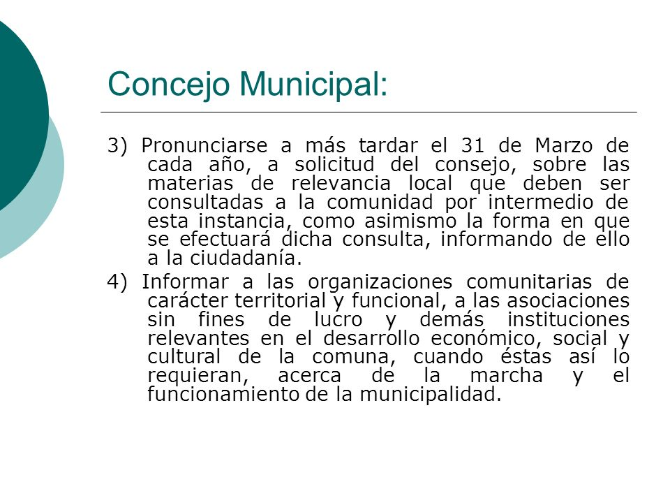 Concejo Municipal: