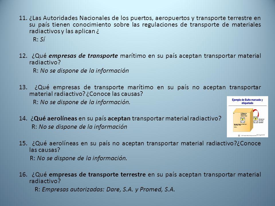 11. ¿Las Autoridades Nacionales de los puertos, aeropuertos y transporte terrestre en su país tienen conocimiento sobre las regulaciones de transporte de materiales radiactivos y las aplican ¿