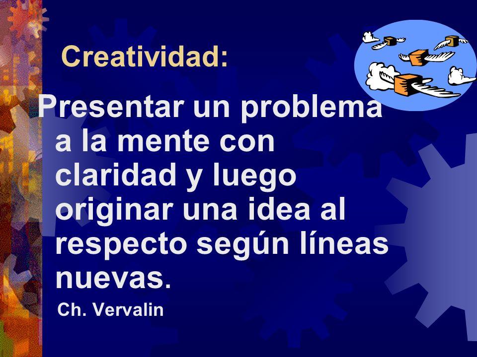 Creatividad: Presentar un problema a la mente con claridad y luego originar una idea al respecto según líneas nuevas.