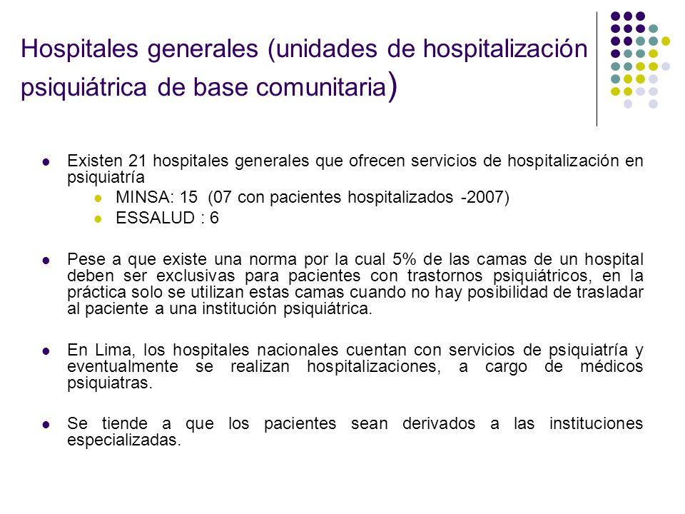 Hospitales generales (unidades de hospitalización psiquiátrica de base comunitaria)
