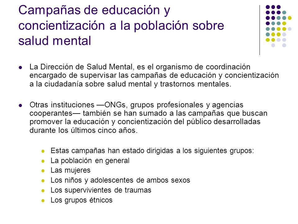 Campañas de educación y concientización a la población sobre salud mental