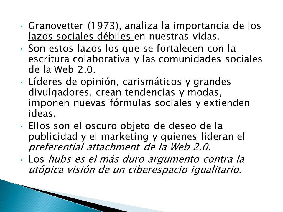 Granovetter (1973), analiza la importancia de los lazos sociales débiles en nuestras vidas.