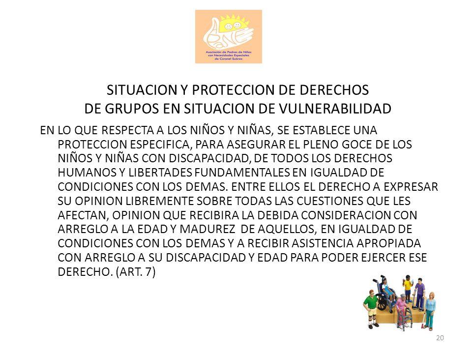 SITUACION Y PROTECCION DE DERECHOS DE GRUPOS EN SITUACION DE VULNERABILIDAD