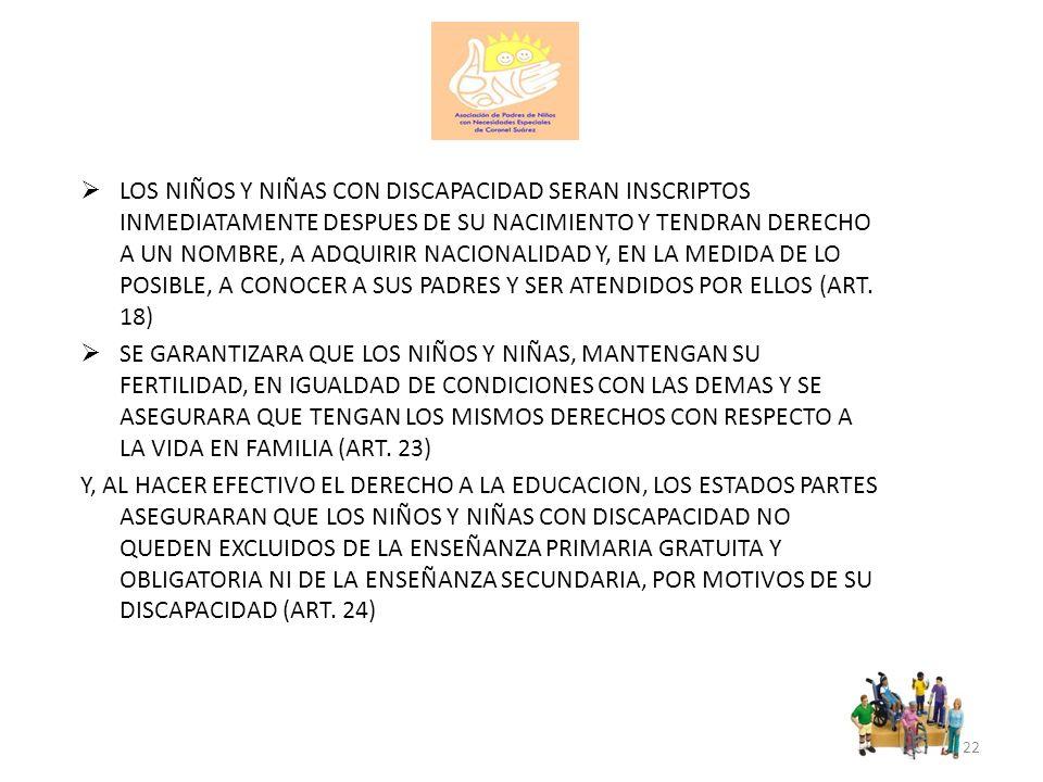 LOS NIÑOS Y NIÑAS CON DISCAPACIDAD SERAN INSCRIPTOS INMEDIATAMENTE DESPUES DE SU NACIMIENTO Y TENDRAN DERECHO A UN NOMBRE, A ADQUIRIR NACIONALIDAD Y, EN LA MEDIDA DE LO POSIBLE, A CONOCER A SUS PADRES Y SER ATENDIDOS POR ELLOS (ART. 18)