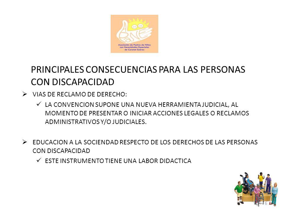 PRINCIPALES CONSECUENCIAS PARA LAS PERSONAS CON DISCAPACIDAD