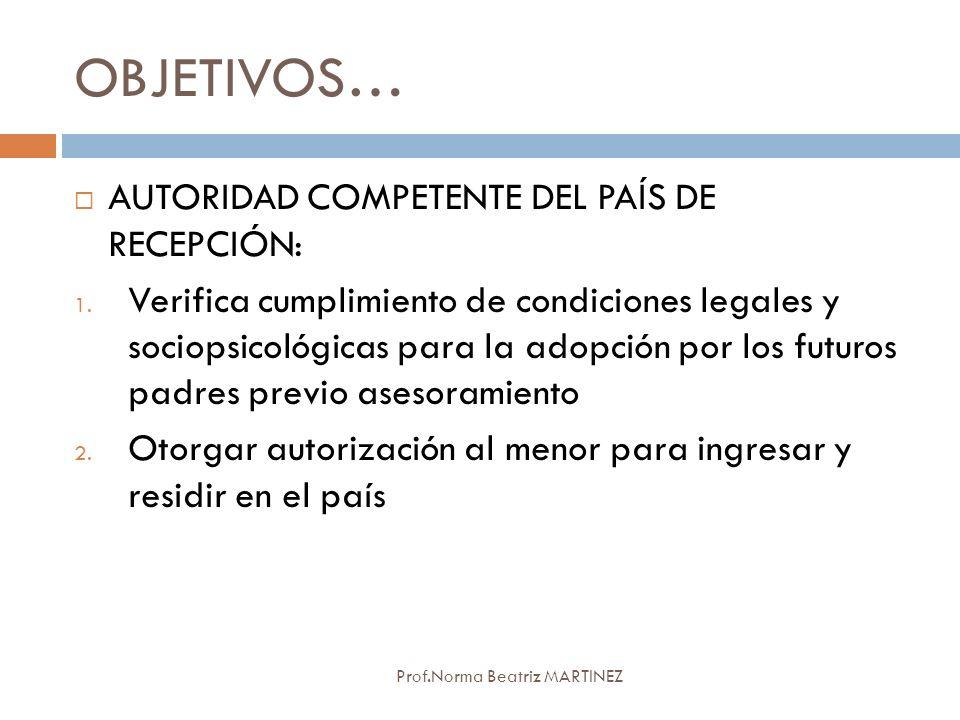 OBJETIVOS… AUTORIDAD COMPETENTE DEL PAÍS DE RECEPCIÓN: