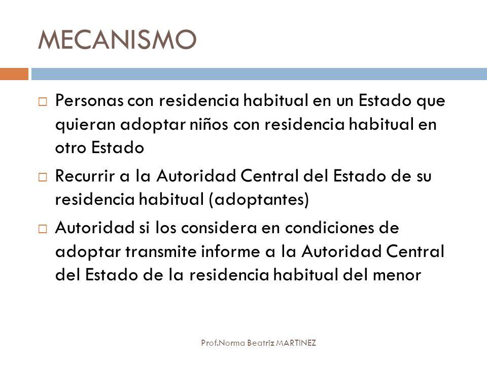 MECANISMO Personas con residencia habitual en un Estado que quieran adoptar niños con residencia habitual en otro Estado.