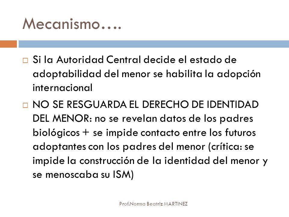 Mecanismo…. Si la Autoridad Central decide el estado de adoptabilidad del menor se habilita la adopción internacional.