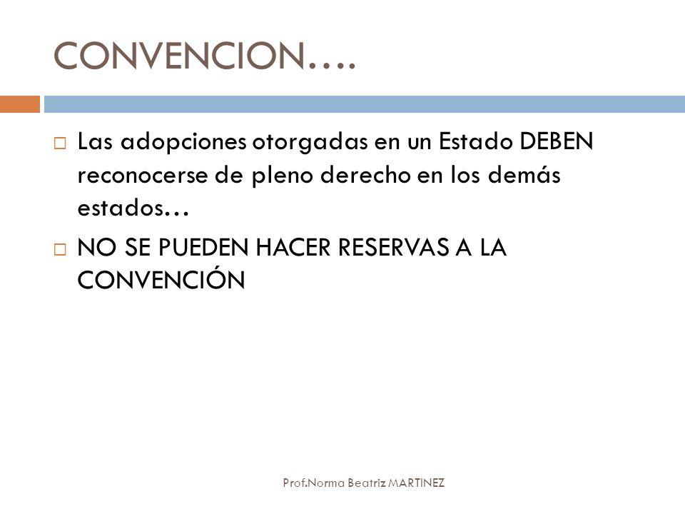 CONVENCION…. Las adopciones otorgadas en un Estado DEBEN reconocerse de pleno derecho en los demás estados…
