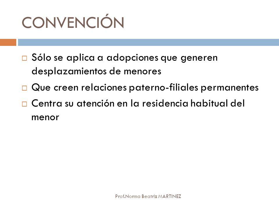 CONVENCIÓN Sólo se aplica a adopciones que generen desplazamientos de menores. Que creen relaciones paterno-filiales permanentes.