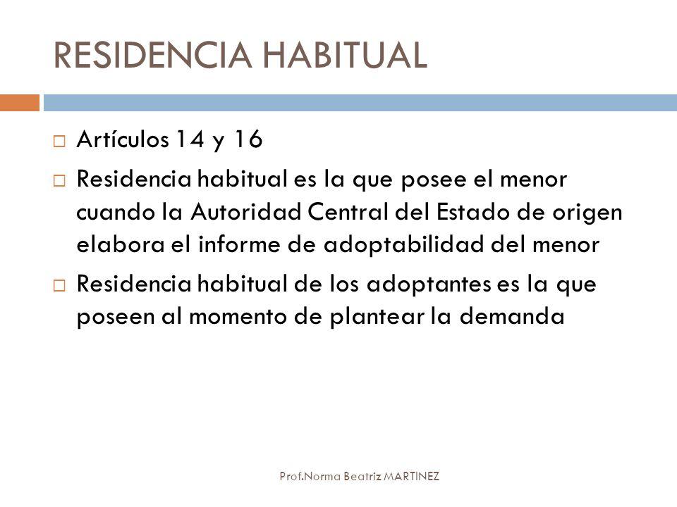 RESIDENCIA HABITUAL Artículos 14 y 16