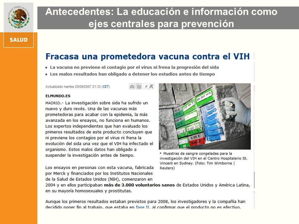 Antecedentes: La educación e información como ejes centrales para prevención