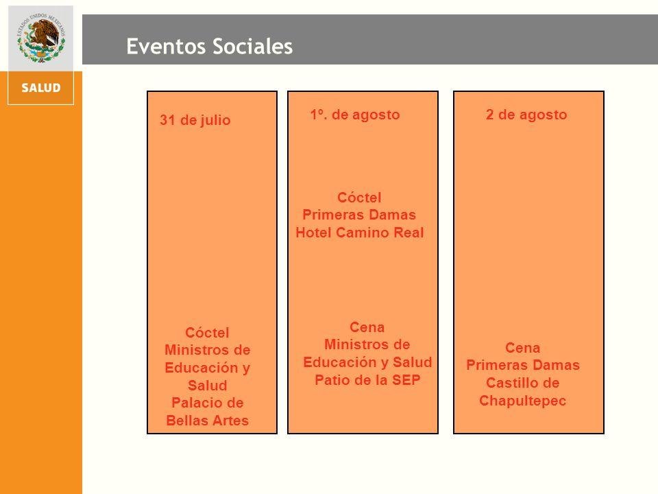 Eventos Sociales 1º. de agosto 2 de agosto 31 de julio Cóctel