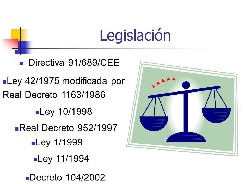 Legislación Directiva 91/689/CEE Ley 42/1975 modificada por