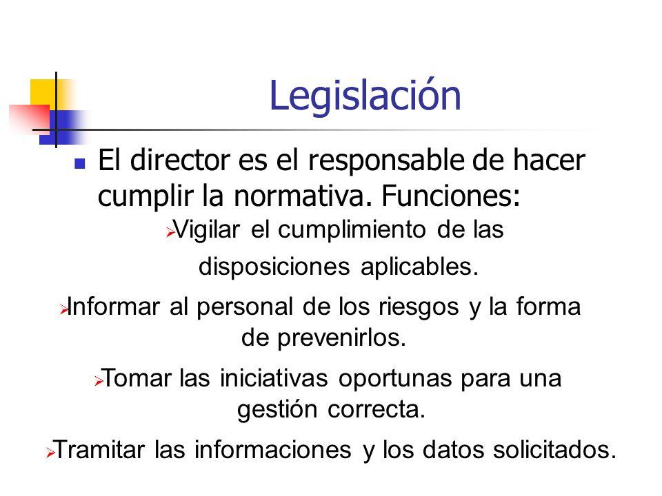 Legislación El director es el responsable de hacer cumplir la normativa. Funciones: Vigilar el cumplimiento de las.