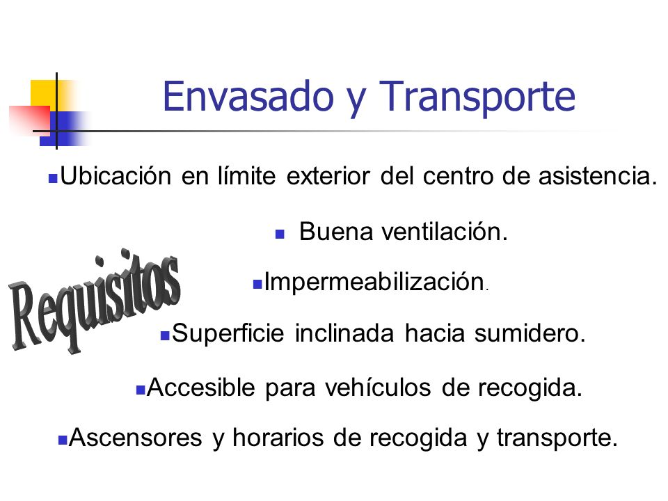 Envasado y Transporte Requisitos