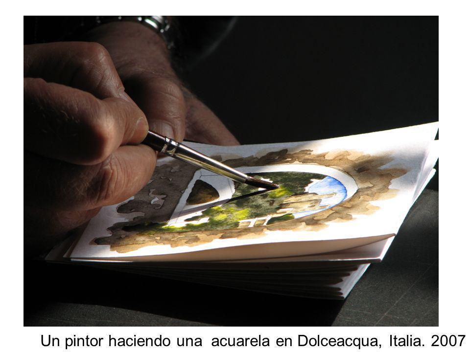 Acuarela Un pintor haciendo una acuarela en Dolceacqua, Italia. 2007