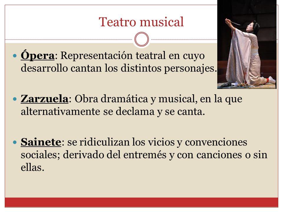 Teatro musical Ópera: Representación teatral en cuyo desarrollo cantan los distintos personajes.