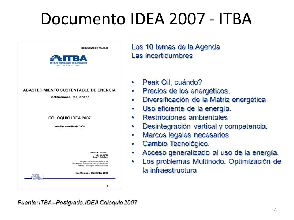 Documento IDEA 2007 - ITBA Los 10 temas de la Agenda